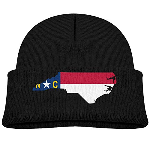 Baby Boy's Girl's Knit Beanie Hat North Carolina Map Cuffed Cotton Soft Funny Skull Cap Black