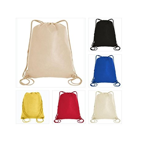 100 PACK Assorted Color-Promotional Non-Woven Drawstring Backpack, Sports Drawstring Bags by SHOPINUSA