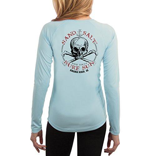 SAND.SALT.SURF.SUN. Virginia Beach Skull Women's UPF 50+ Long Sleeve T-Shirt Medium Arctic (Virginia Tech Salt)