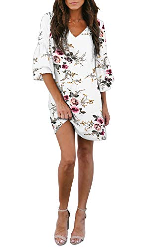 BELONGSCI Women's Dress Sweet & Cute V-Neck Bell Sleeve Shift Dress Mini Dress White Floral