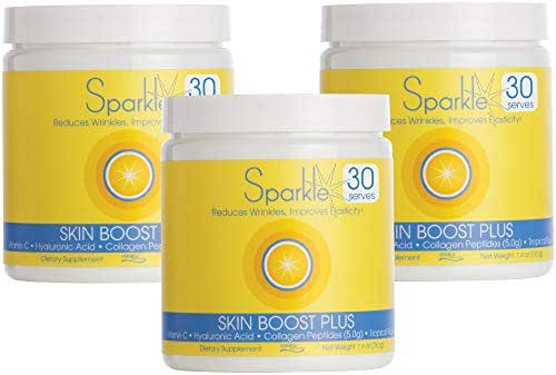Sparkle Skin Boost Plus (Tropical Coconut Pineapple) [3-Pack of 30-Serves] Verisol Collagen Peptides Protein Powder Vitamin C Supplement Drink