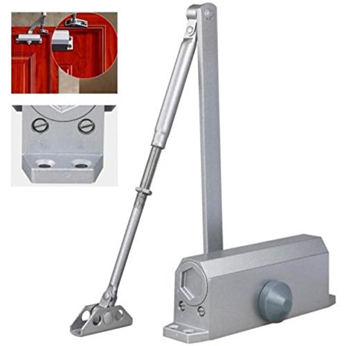 Automatic Door Closer Hinge Hold Tow Independent Screen Pats Valves Control 65-85 KG Silver Aluminum