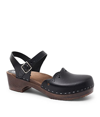 Sandgrens Swedish Wooden Low Heel Clog Sandals for Women | Milan Black Veg DK, EU 36
