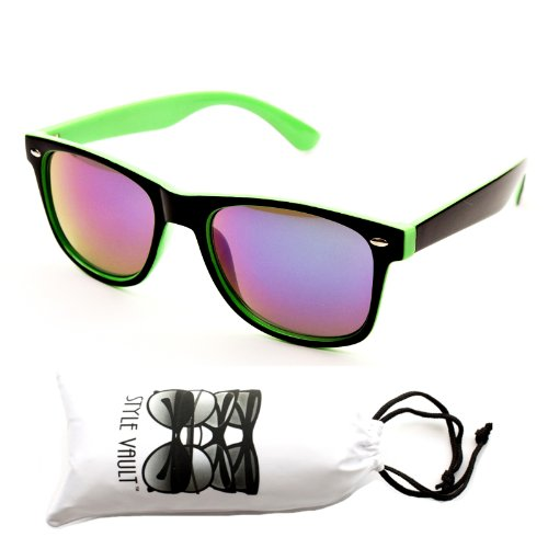 W1325-vp Style Vault Wayfarer 80s Sunglasses (Wf042t Black/green-Emerald, Mirrored)