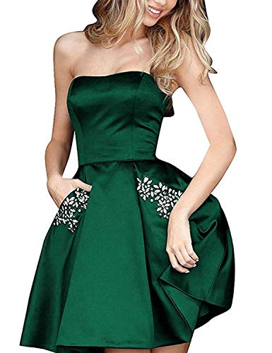 (TTYbridal Strapless Beaded Homecoming Dresses Short Satin Cocktail Prom Gown with Pockets HD3 Dark Green)