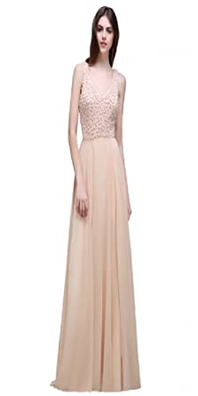 2018 Beaded Champagne Chiffon V-Neck Floor-Length Two-Straps Prom Dress (