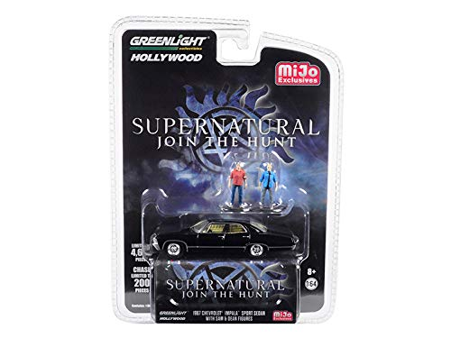 StarSun Depot New 1967 Chevrolet Impala Sport Sedan Black with Sam and Dean Figurines Supernatural (2005) TV Series Limited Edition to 4,600 Pieces Worldwide 1/64 Diecast Model Car by Greenlight