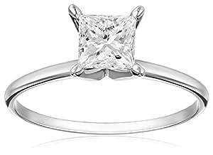 IGI Certified 14k White Gold Princess-Cut Diamond Solitaire Engagement Ring (1 carat, I-J Color, I1-I2 Clarity), Size 7