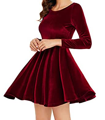 Annigo Women's Red Velvet Short Fit and Flared Cocktail Dresseswith Sleeve,Burgundy,Small