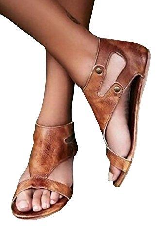 Fashare Women's Open Toe Casual Flat Sandal Retro Beach Slipper Sandals Shoes