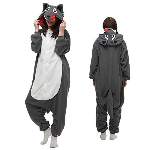 Wolf Onesie Adult Women Men Animal Pajamas Cosplay