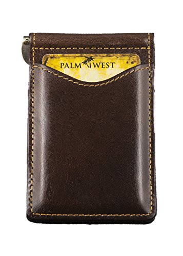 Palm West Leather Minimalist Leather Money Clip Wallet with RFID Blocking Technology, Dark Brown - West Brown Leather