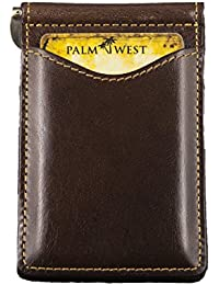 Palm West Leather Best Premium Minimalist Money Clip and Bi Fold Wallet with RFID Blocking Technology