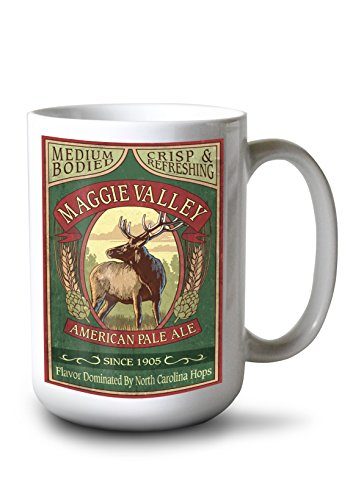(Lantern Press Maggie Valley, North Carolina - Elk Pale Ale Vintage Sign (15oz White Ceramic Mug))