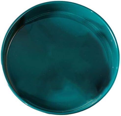 TOPBATHY セラミックサービングトレイラウンドサービングプラッターキッチンフードスナックデザート前菜保管皿(紺)