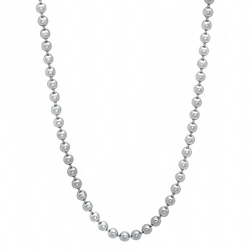 The Bling Factory 2.3mm Rhodium Plated Ball Chain Necklace, 24