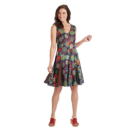 Sleeveless Sundress - Knee Length V-Neckline with Colorful Medallions Print - 1X