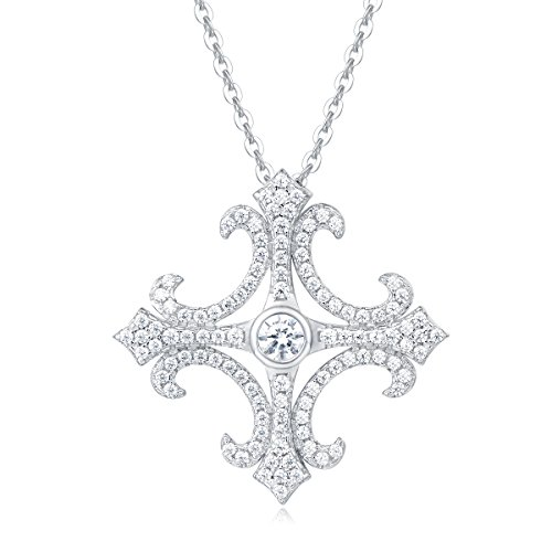 Carleen Sterling Silver Cubic Zirconia Cross Necklace Chain Pendant Necklaces for Women, 18 Inch