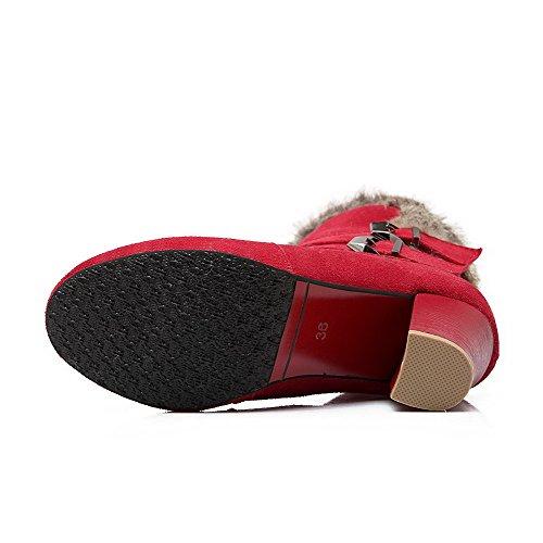 AgooLar Damen Mitte-Spitze Ziehen auf Mattglasbirne Hoher Absatz Rund Zehe Stiefel Rot