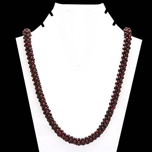 - Long Garnet Beads Necklace  Natural Red Garnet 28 inch Mala  Red Garnet Beaded Rope -Anitque Hand Knit Garnet Beads - January Birthstone