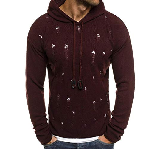 Amiley Mens Hoodies,New Mens Solid Ripped Hole Pullover Drawstring Casual Hoodie Hooded Sweatshirt (Wine Red, Large) by Amiley mens hoodies