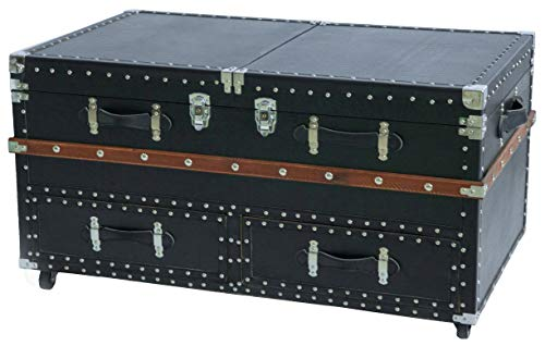 Vintiquewise QI003412L Black Crocodile Leather Coffee End Table and Wine Bar Trunk with Sliding Top and Drawers