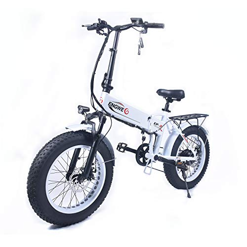 ENGWE EP-2 Beach Fat Tire Electric Bike - Foldable 20-inch Wheels Off-Road eBike with Power Assist, Rear Shelf and Shimano 6-Speed Gear Shifts (White350W)