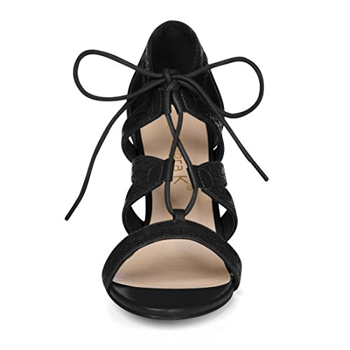Sandals Straps Women Allegra Black Lace K Chunky Cutout Heel Braided Up qFzPwOg