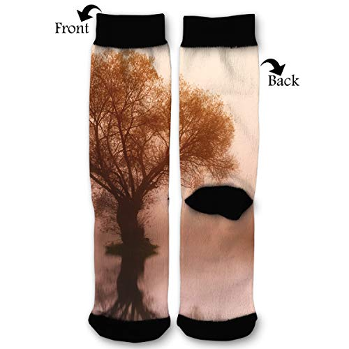 Silhouette Photo Of Tree Unisex Printing Seafarer Socks Deluxe Personality Short Sock 40CM ()