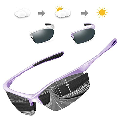IALUKU Polarized Sports Sunglasses for Men Outdoor Photochromic Frame Semi-rimless Glasses Cycling Running Driving Fishing Golf Baseball (Gray Frame Change to Purple Frame & Gray Lens) (Best Cycling Glasses Photochromic)