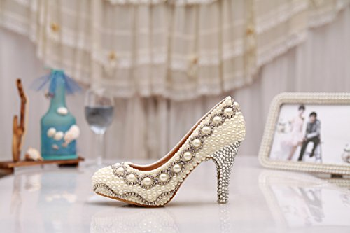 Minitoo MZLL034 Women's Hidden Platform Handmade Satin Wedding Party Evening Prom Pumps Shoes Ivory-8cm Heel f8VfbxGhCA
