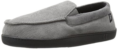 Image of ISOTONER Men's Diamond Corduroy Moccasin Slipper with Cooling Memory Foam for Indoor/Outdoor Comfort