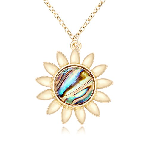 PANGRUI Fashion Sun Sunflower Pendant Natural Abalone Shell Charm Necklace for Women (gold)