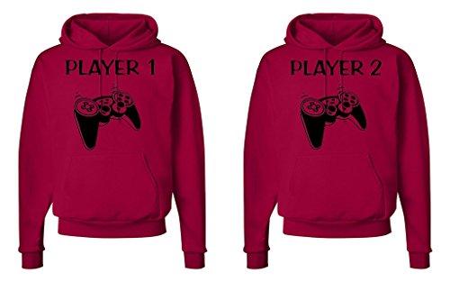 49bb047b2 FASCIINO Matching His & Hers Couple Hoodie Sweatshirt Set - Player 1 and  Player 2 Gamer