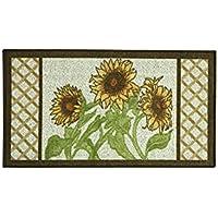 Bacova Sunflower Frame 22.4-Inch x 40-Inch Berber Kitchen Rug in Yellow/Green