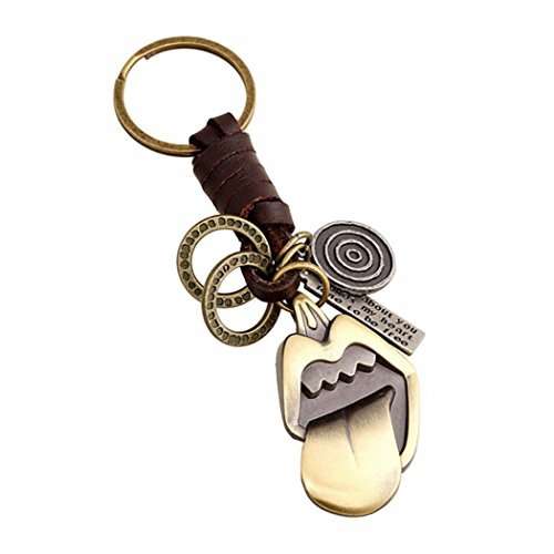 PopJ Punk Style Leather Key Chain Nice Key Rings Holder with Gift Bag