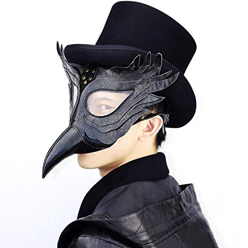 Umiwe Plague Doctor Mask Faux Leather Bird Beak Mask Long Nose Cosplay Steampunk Plague Doctor Mask for Christmas Party and Role-Playing Party -