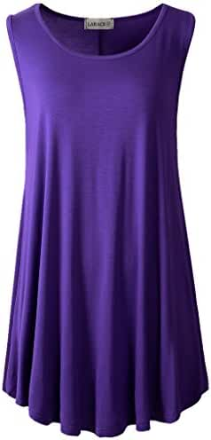 LARACE Women Solid Sleeveless Tunic for Leggings Swing Flare Tank Tops