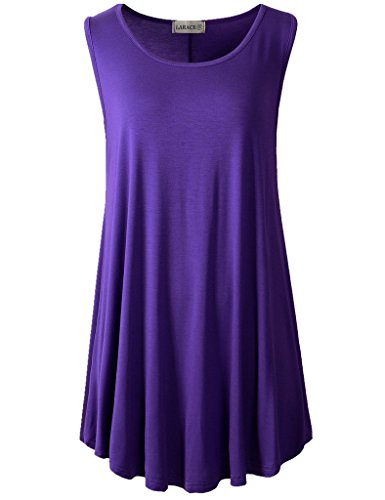 LARACE Women Solid Sleeveless Tunic for Leggings Swing Flare Tank Tops (1X, Deep Purple)