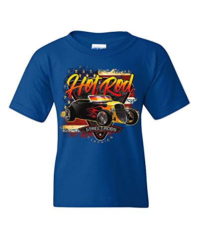 (1933 Roadster Hot Rod American Flag Youth T-Shirt Street Rods Classics Kids Tee Royal Blue L)