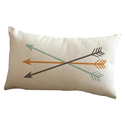 Bokeley Pillow Case, Cotton Linen Rectangle Arrow Printing Festival Decorative Throw Pillow Case Bed Home Decor Car Sofa Waist Cushion Cover (E)