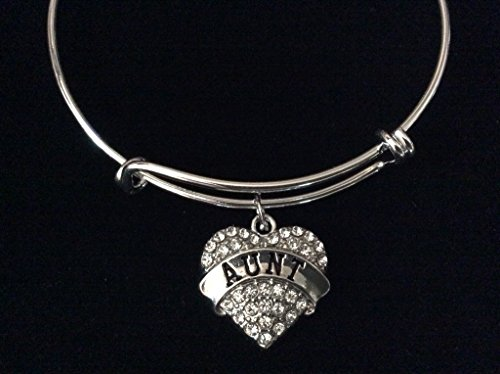 Aunt Crystal Pave Heart Expandable Charm Bracelet Trendy (Inspired Pave Heart)