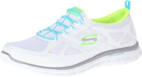 Skechers Sport Womens Lynx Fashion Sneaker Bianco / Blu