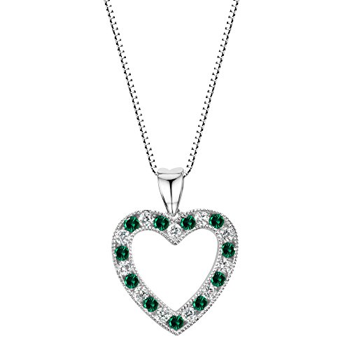 Round Created Emerald Pendant - Sterling Silver 925 Round Created Emerald and White Sapphire Heart Pendant Necklace, 18