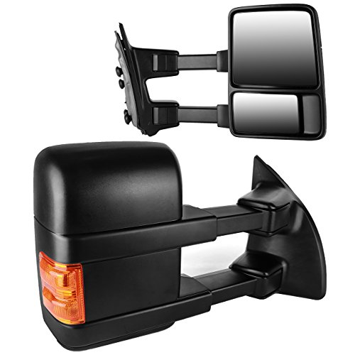 DEDC Ford F250 Tow Mirrors Fit for 99-15 Ford F250 F350 F450 Super Duty Towing Mirrors Manual Telescopic with Signal Lights Indicator ()