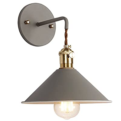 iYoee Wall Sconce Lamps Lighting Fixture with on Off Switch,Gray Macaron Wall lamp E26 Edison Copper lamp Holder with Frosted Paint Body Bedside lamp Bathroom Vanity Lights - NORDIC STYLE:iYoee Wall Sconces Light combines Nordic and vintage style which makes it a perfect decor for your bedroom, living room, corridor, coffee shop, office, etc, suitable for tasteful you. A total of seven very individual colors can be chosen no longer monotonous. QUALITY ASSURANCE: pure copper lamp holder UL certification E26 E27 wall lamp . Made of high quality brass, baking paint. Package includes everything to set up properly (canopy, brass socket, metal base cap and screws.). Requires drilling to install. With rotary switch, need Hardwired. EASY INSTALL: includes all mounting hardware for quick and easy installation. It's a contractor's dream! - bathroom-lights, bathroom-fixtures-hardware, bathroom - 41Oph DoKZL. SS400  -