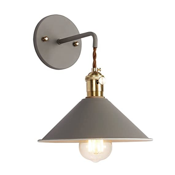 iYoee Wall Sconce Lamps Lighting Fixture with on Off Switch,Gray Macaron Wall lamp E26 Edison Copper lamp Holder with Frosted Paint Body Bedside lamp Bathroom Vanity Lights - NORDIC STYLE:iYoee Wall Sconces Light combines Nordic and vintage style which makes it a perfect decor for your bedroom, living room, corridor, coffee shop, office, etc, suitable for tasteful you. A total of seven very individual colors can be chosen no longer monotonous. QUALITY ASSURANCE: pure copper lamp holder UL certification E26 E27 wall lamp . Made of high quality brass, baking paint. Package includes everything to set up properly (canopy, brass socket, metal base cap and screws.). Requires drilling to install. With rotary switch, need Hardwired. EASY INSTALL: includes all mounting hardware for quick and easy installation. It's a contractor's dream! - bathroom-lights, bathroom-fixtures-hardware, bathroom - 41Oph DoKZL. SS570  -