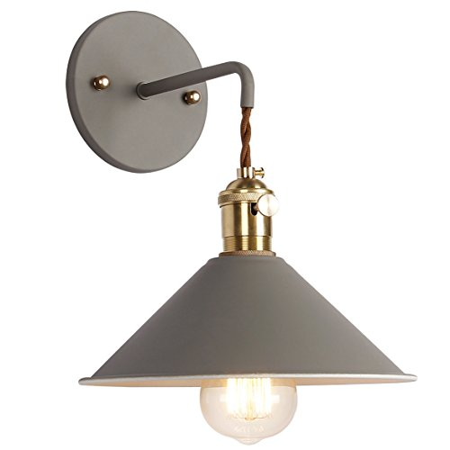 iYoee Wall Sconce Lamps Lighting Fixture with on Off Switch,Gray Macaron Wall lamp E26 Edison Copper lamp Holder with Frosted Paint Body Bedside lamp Bathroom Vanity Lights
