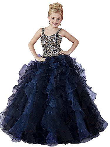 Y&C Little Flower Girls Dresses Birthday Party Beaded Kids Dance Pageant Ball Gowns 4 US Navy Blue