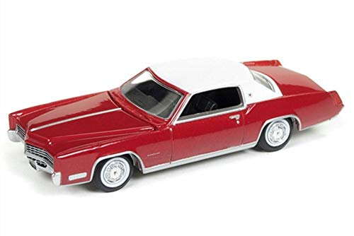 Auto World 1967 Cadillac Eldorado, Red w/ White Roof AW64182/48B - 1/64 Scale Diecast Model Toy Car